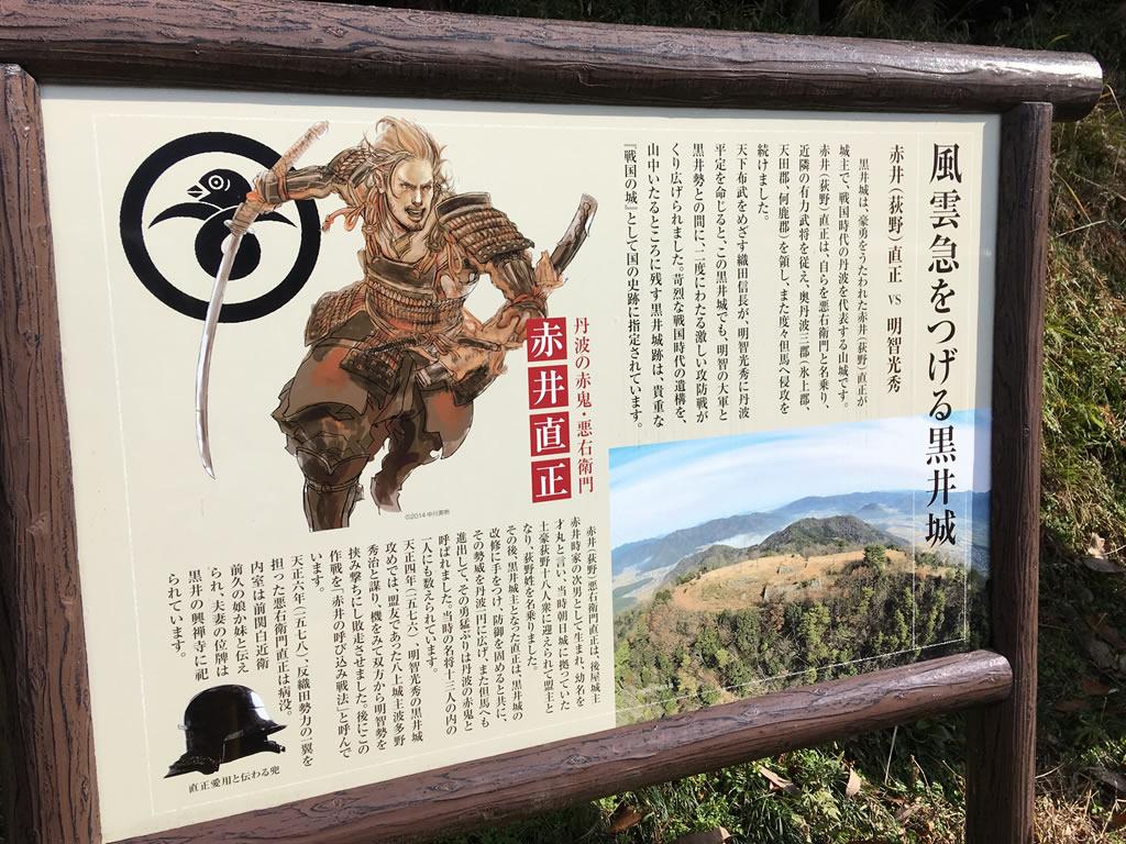 黒井城登山口の看板