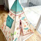 西松屋で子供用のおもちゃテントハウス(アニマルインディアンテント)を買ってみた!おしゃれなキッズテントでワクワクする子供部屋を作ってみよう!