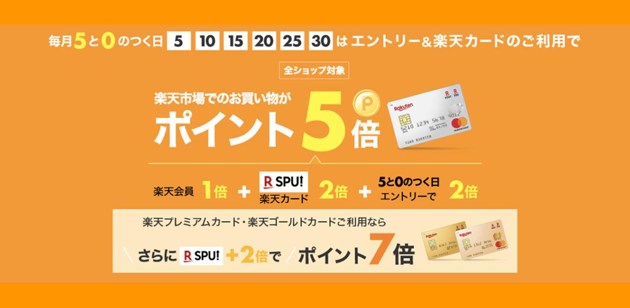 楽天市場は楽天カードポイント5倍の0と5のつく日に購入しよう