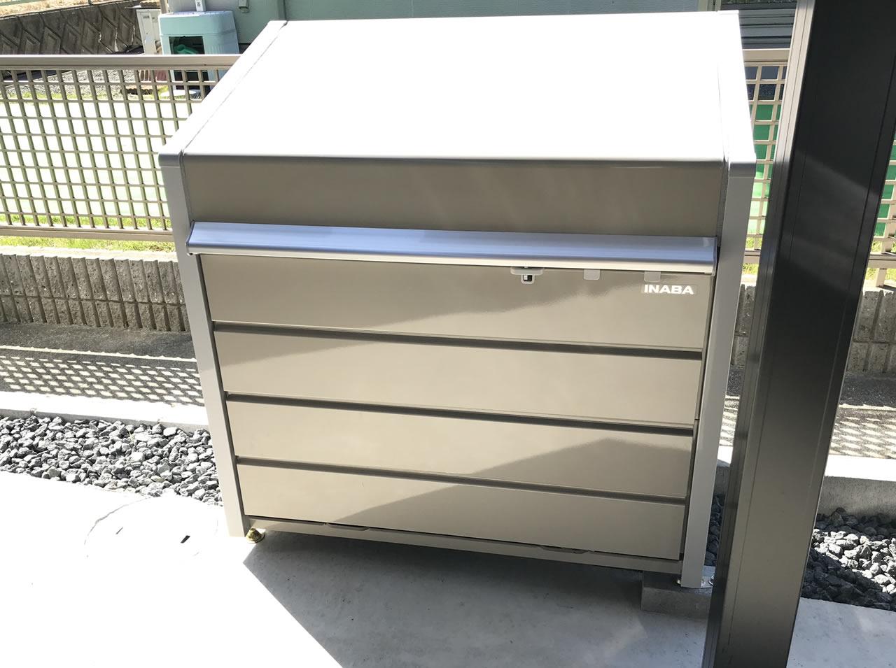 イナバ物置のダストボックスを設置しました
