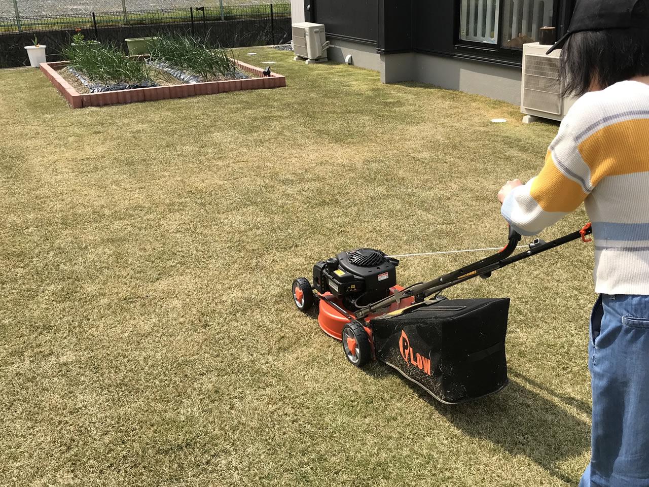 女性でも簡単にエンジン式芝刈り機は使える