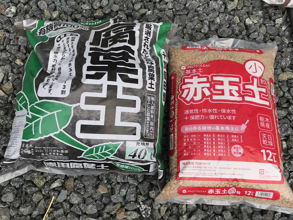 赤玉土、腐葉土で土作り